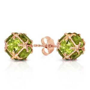 GOLD STUD EARRINGS WITH NATURAL PERIDOTS